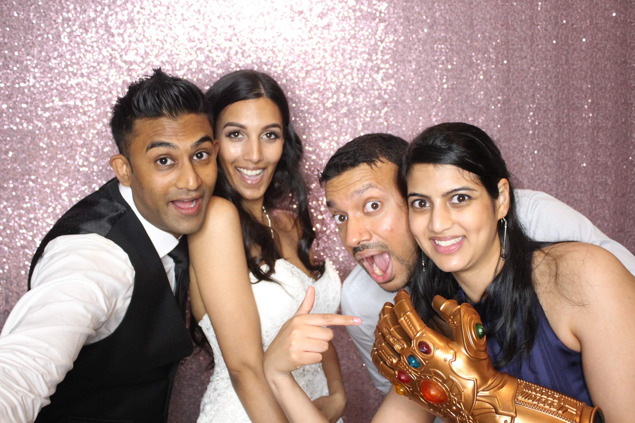 photo booth rental with rose gold background