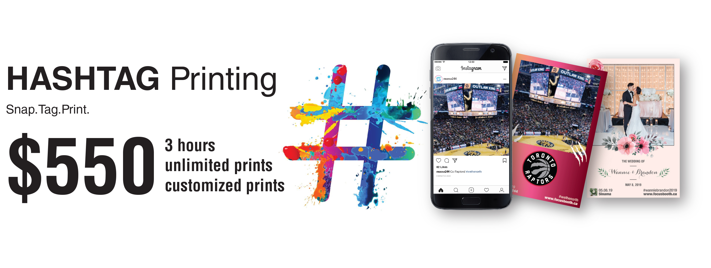 hashtag printing promotion focusbooth
