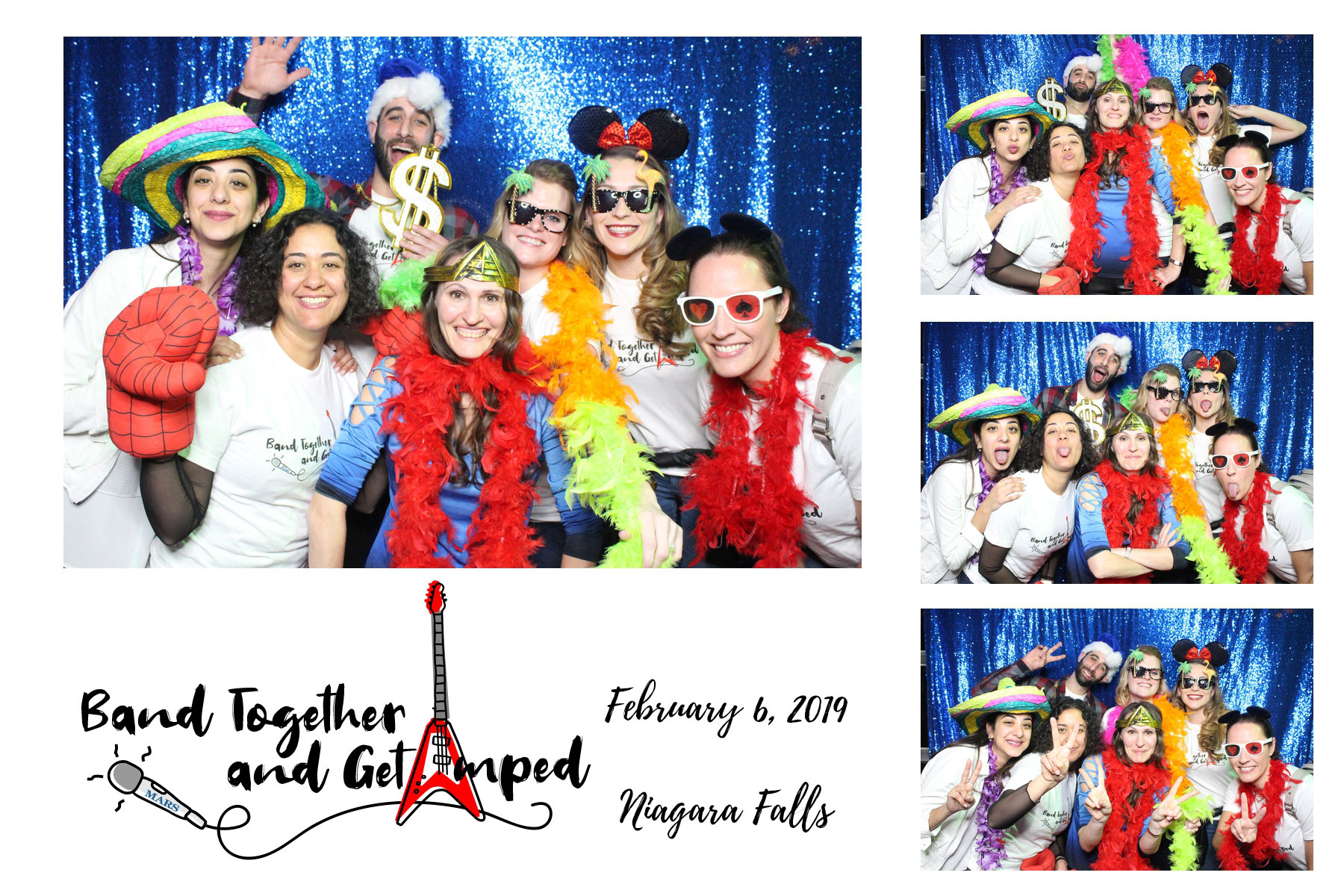musical event photo booth with blue backdrop