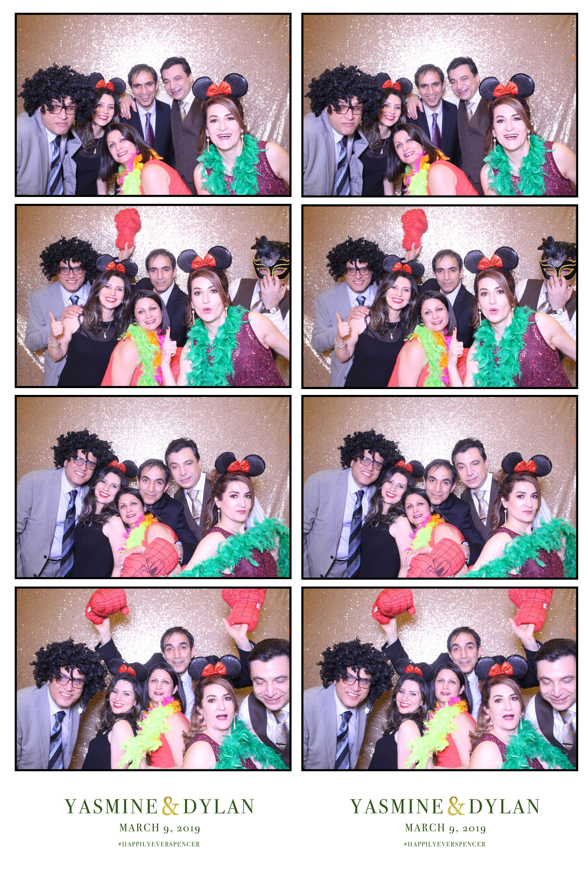 wedding event celebration photo booth with gold backdrop